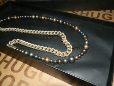 NEW HUGO BOSS LADIES WOMANS DESIGNER PEARL BRASS GOLD BAG RING NECKLACE