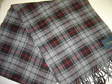 NEW MENS CLUB ROOM BLACK & GREY 100% CASHMERE PLAID SCARF $95