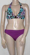 NEW Kenneth Cole Halter Bikini Top & Foldover Brief Bottom (B) MULTI/LARGE