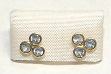 14K earring yellow gold three eyes with Blue stone