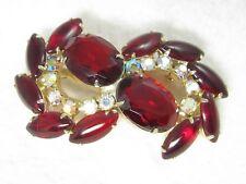 Vintage JULIANA Red & Aurora Borealis Rhinestone Brooch Pin