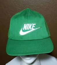 Rare! Vintage Nike Green Swoosh SnapBack Hat Cap 1980's Made in The USA Trucker
