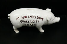 VINTAGE STYLE Wm MOLAND'S SONS QUAKER CITY HAMS CAST IRON PIG HOG PIGGY BANK