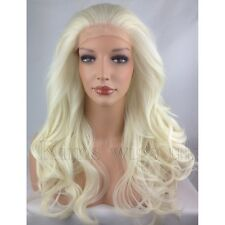 WHITE BLONDE HEAT RESISTANT LONG WOMENS WAVY LADIES LACE FRONT HAIR WIG KW31