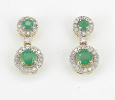 14K Yellow Gold Emerald and Diamond Halo Drop Earrings Wedding Gift May Gem