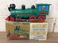 VINTAGE MARX BATTERY OPERATED WHISTLING LOCOMOTIVE TINPLATE  BOXED WORKING