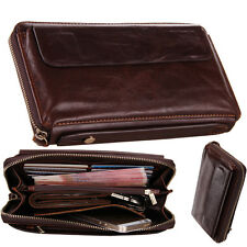 Fashion Business Mens Genuine Leather Wallet Cowhide Zip Around Clutch Purse Bag