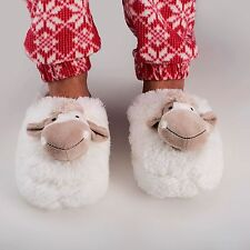 Zhu-Zhu Furry Animal Head Cow Slippers - Soft Plush Novelty Slippers - up to UK7