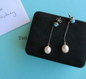 100% Genuine vintage Tiffany & Co turquoise and pearl earrings - sterling silver
