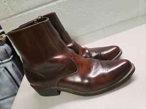 MEN'S LAREDO BROWN ZIP TRUCKER BOOTS WESTERN ZIPPER BOOTS #62004 SZ 14  D