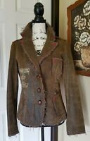 Raw 7 Distressed Leather Plaid Trim Applique Frayed Blazer Jacket Women M Medium