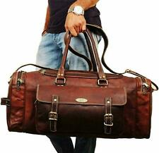 Handmade Leather Travel Luggage Duffel Gym Bag Overnight Weekender Crossbody
