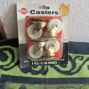 """New. Se of Four Vintage Faultless Ball Bearing Casters. 1 1/4"""" Wheels."""