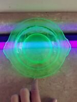 7 Inch Uranium Glass Depression Bowl Tray Dish Chipped Plate Pressed Glass