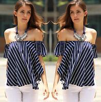 Women Lady Fashion Off Shoulder Casual Short Sleeve Slim T-Shirt Top Blouse CA
