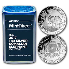 2017 Somalia 1 oz Silver Elephant (20-Coin MintDirect® Tube) - SKU #101909