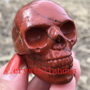 1pc Natural Red jasper Quartz skull Crystal Carved skull gem reiki healing 2''