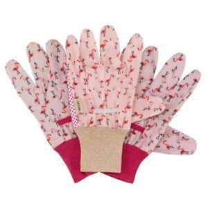 3 Pack Of Quality Briers Flamingo Cotton Grips Garden Gloves Medium Comfort Grip