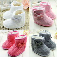 Infant Baby Girl Bow Soft Sole Winter Warm Snow Boot Fur Crib Shoes Prewalker MD