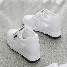 Women's Casual Mesh Hidden Wedge Heel Lace Up Sneakers Athletic Shoes Breathable
