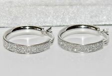 STERLING SILVER (925) LADIES 18mm SPARKLING MOONDUST CREOLE HOOP EARRINGS -