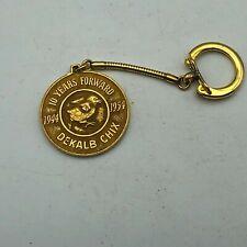 Rare 1944-1954 DeKalb Chix Poultry Anniversary Award Advertising FOB Keychain S3