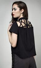 Disturbia Dolls Kill Abstract Crop Shirt Black Gothic Geometric Cut Out UK 6 XS