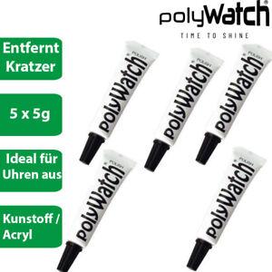 5 x Polywatch - Kratzer Entferner Polierpaste für Uhrengläser aus Kunststoff