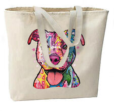 Artsy Neon Pitbull New Oversize Canvas Tote Bag Shop Travel Gifts Dean Russo