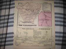 Antique Southborough Southville Cordaville Fayville Massachusetts Handcolor Map