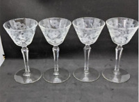 Vintage Etched Cordial Glass Set of 4