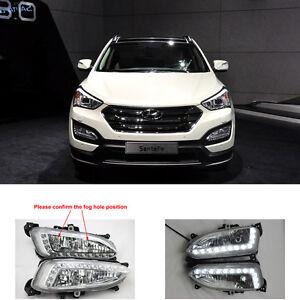 Car LED Daytime Running Lights Lamp For Hyundai New Santa Fe 2013-2015