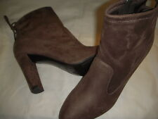 Marc Fisher Justice Faux Suede Side Zip Tie Back Ankle Boots Womens 11 M Taupe ~