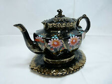 More details for antique victorian black glazed hand painted large teapot with stand. good, clean