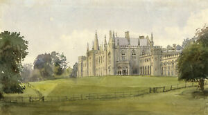 M. Conway, Rossie Priory, Perthshire, Scotland – 1884 watercolour painting