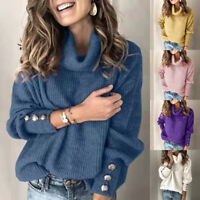 Womens Long Sleeve Pullover Sweater Casual Turtleneck Blouse knitting Loose Tops