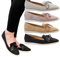 Ladies Womens Flats Casual Slip On Diamante Loafers Ballerinas Pumps Shoes Size