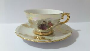 Vintage Bavaria GKC Lustre  & Gold porcelain espresso Coffee cup and saucer