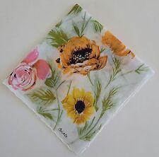 Handkerchief Colette Pink Roses Orange Poppies Yellow Daisies Vtg Cotton Hankie