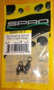 Spro SBSB2S-04-3 Size 4 Ball Bearing Swivel w/ 2 Split Rings 19 lb test Qty 3