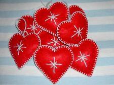 Christmas Tree Decoration Handmade Felt Heart Red White 10pcs Shabby Chic Nordic