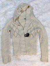 Anthropologie FREE PEOPLE Cable Knit Hooded Sweater Cardigan Large Button Sz M