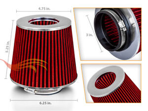 """3"""" Short Ram Cold Air Intake Filter Round/Cone Universal RED For Mercedes Benz 2"""