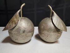 Vintage Hand Etched Cambodian 900 Silver T90 Fruit Orange Trinket Boxes