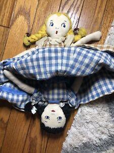 Reversible Vintage Cloth Doll Blonde And Brunette
