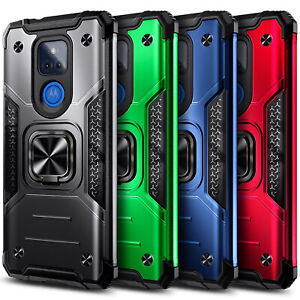 For Motorola Moto g PLAY (2021) Case Shockproof Ring Stand Cover +Tempered Glass