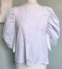 ZARA White Cotton Broderie Puff Sleeve Blouse Sz XS 8 Button Back Steampunk