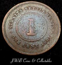 1901 Queen Victoria Straits Settlements One Cent Coin - Ref ; H/D