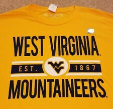WVU West Virginia Mountaineers Football Basketball T-Shirt Yellow Mens Medium M