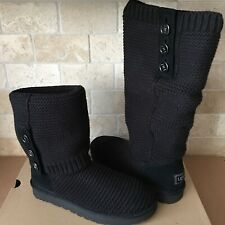 UGG CARDY PURL KNIT BUTTON BLACK CLASSIC TALL / SHORT BOOTS SIZE 10 WOMENS